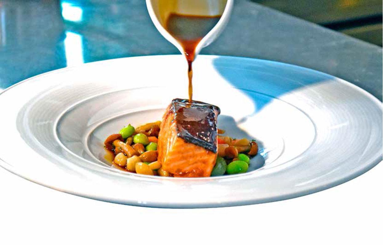 Salmon with Mushroom and Edamame Salad Recipe