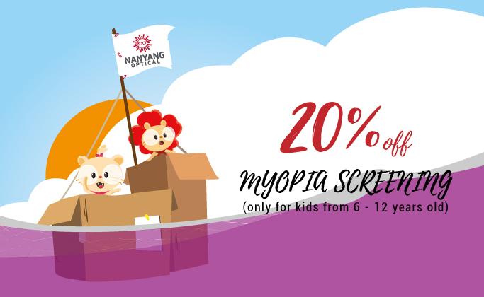 20% off Myopia screening for kids ( 6 - 12 years old)